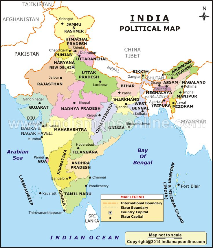 India Political map shows all the States and Union Territories of India. Political Map of India showing Political features of India