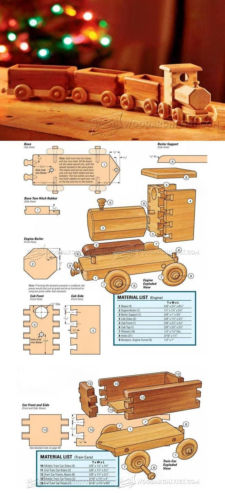 Wooden Train Plans - Children's Wooden Toy Plans and Projects | WoodArchivist.com