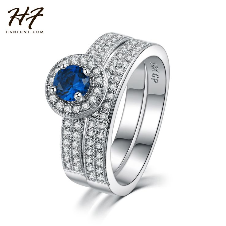 White Gold Plated Blue Crystal Ring Set Fashion Wedding & Engagement Rings Jewelry For Women with CZ Crystal WholesaleR506