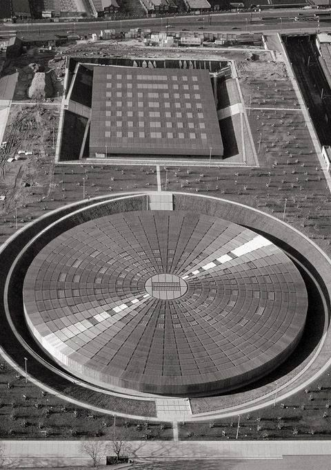Velodrome and Olympic Swimming Pool in Berlin, Germany. 1992-99 by Dominique Perrault Architecture...