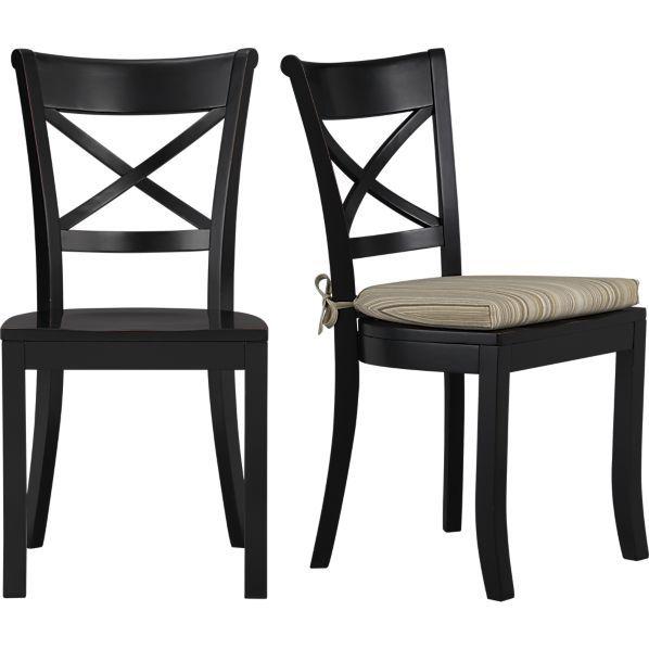Vintner Black Side Chair And Latte Stripe Cushion In