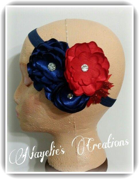 Navy blue and red headband