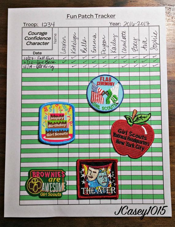 Hey Girl Scout Leader! Keep track of all the fun patches you've given to your girls throughout the year with this helpful Fun Patch Tracker