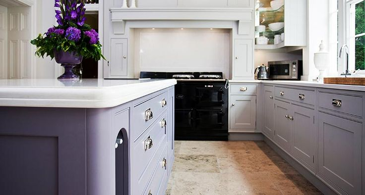 A lovely mix of purple and Frosty Carrina in this kitchen by Worcestershire Marble and Osborne of Ilkestone.