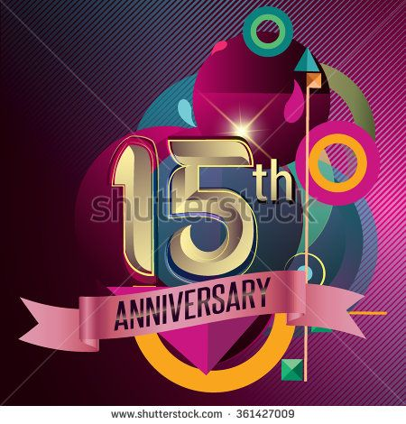 15th Anniversary, Party poster, party invitation - background geometric glowing element. Vector Illustration - stock vector