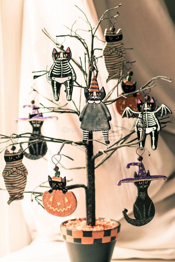 Witch Cat Halloween Clay Folk Art Ornament by KilkennycatArt