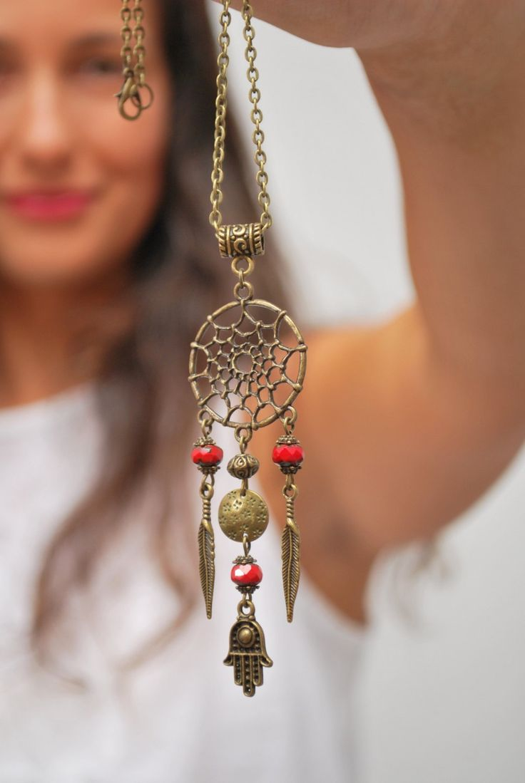 Dream Catcher necklace hippie festival necklace hamsa hand necklace boho pendant hippie necklace namaste jewelry good luck necklace. (15.00 EUR) by Estibela