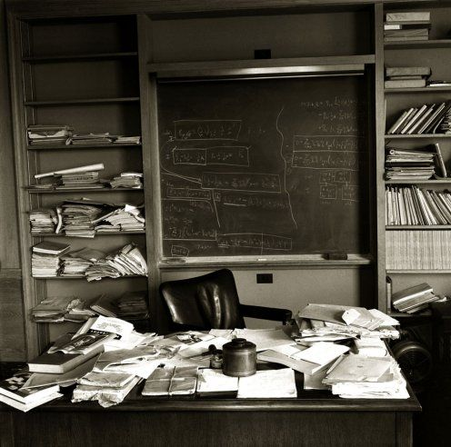Einstein's office at the Institute for Advanced Study in Princeton, N.J., photographed on the day of his death, April 18, 1955