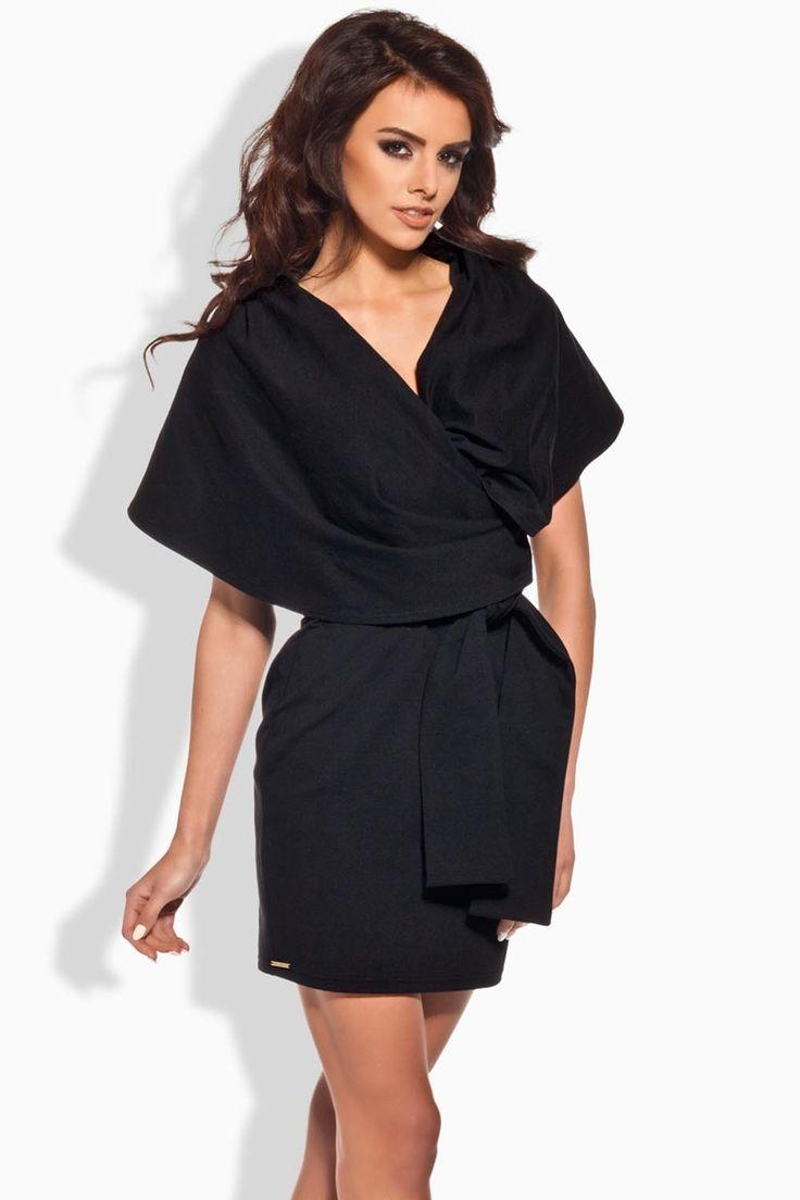 Lemoniade L138 - czarna sukienka kimono