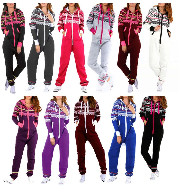 Womens Adult Ladies NEW Aztec Printed Hooded Onesie Zip Up All in One Jumpsuit…