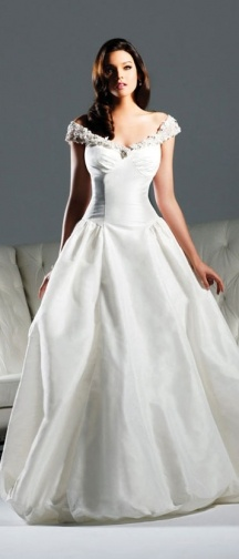 "David Tutera by Faviana ""Carrie"" wedding dress. B164. Off the shoulder Shantung ball gown with convertible skirt and neckline features a removable jeweled shoulder pieces and bustle bubble skirt."