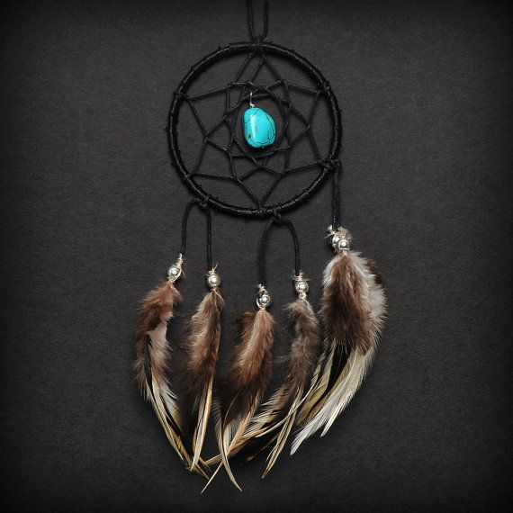 Black Turquoise Stone Car Mirror Dream Catcher via Etsy