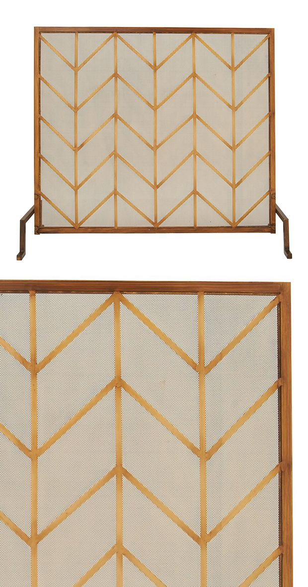 Whether your functional fireplace is a new addition or a century-old fixture, give it a modern edge with this Woodland Fire Screen. Its mesh screen cover is overlaid with a charming golden leaf-looking...  Find the Woodland Fire Screen, as seen in the How to Style a Modern Eclectic Home Collection at http://dotandbo.com/collections/how-to-style-a-modern-eclectic-home?utm_source=pinterest&utm_medium=organic&db_sku=118347