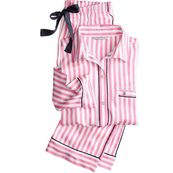 The Afterhours Satin Pajama - Victoria's Secret ($76) ❤ liked on Polyvore featuring intimates, sleepwear, pajamas, satin pyjamas, victoria's secret, victoria secret sleepwear, satin pajamas and satin pjs
