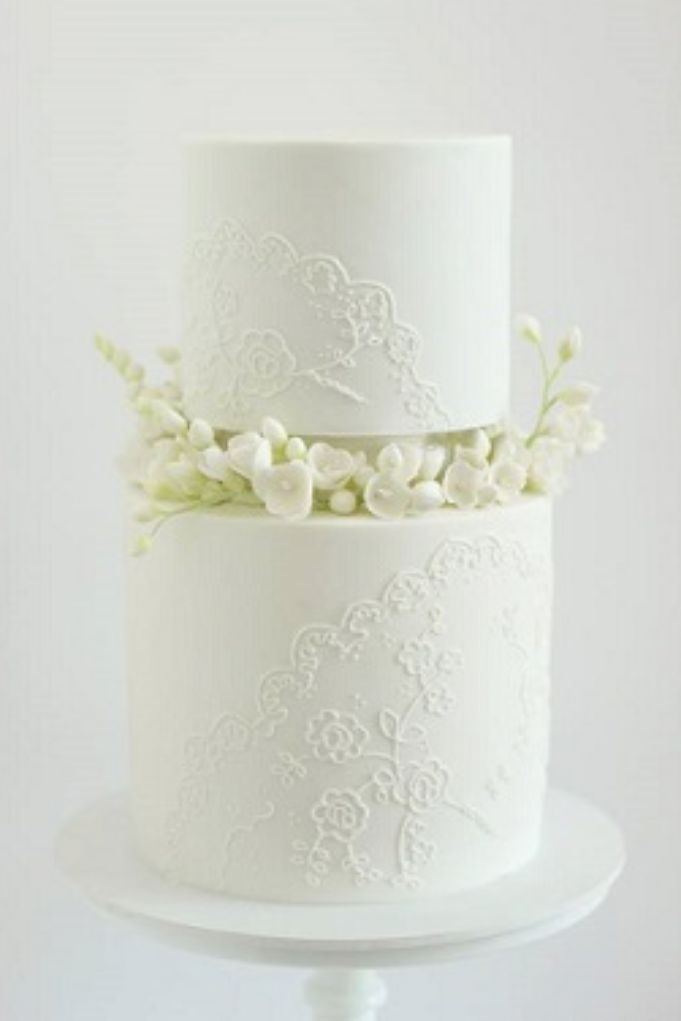 Wedding Cake Tiered Piped Lace Sugar Freesias by Hello Naomi Cake
