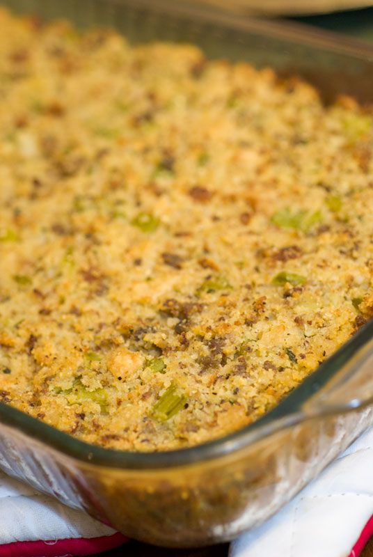 """Southern Living"" cornbread Dressing. Definitely add the sausage...I make this every year, Jimmy Dean Bold is best!"