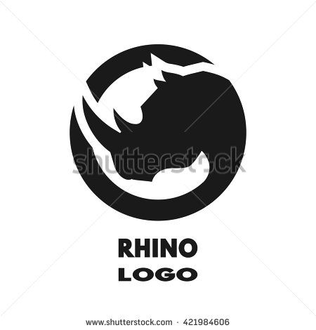 Silhouette of the rhino, monochrome logo.
