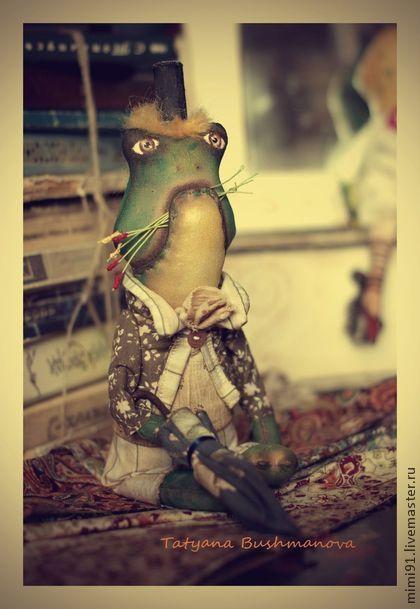 Мистер Жабунько - зелёный,жаба,лягушка,текстильная лягушка,примитивная кукла