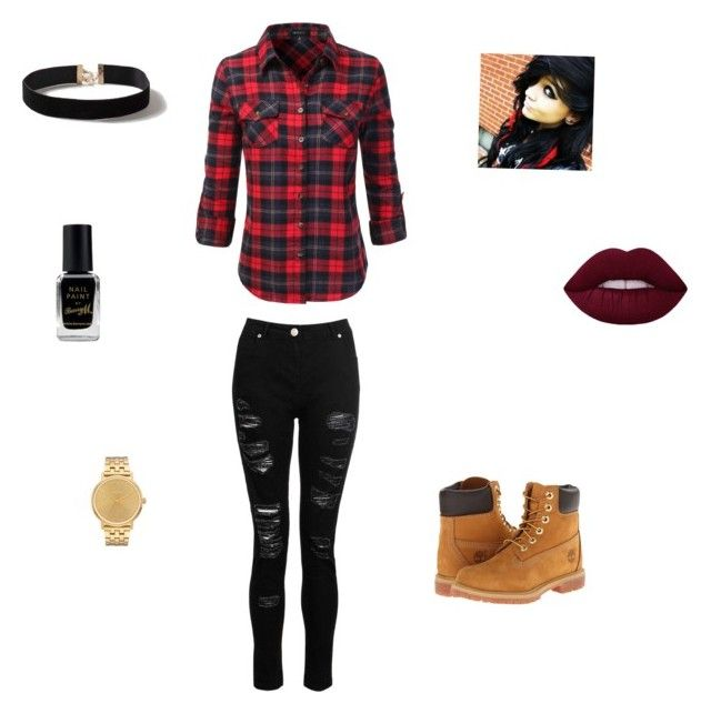 """""""Emo Black/Red Casual outfit"""" by emohunter on Polyvore featuring mode, Timberland, Dorothy Perkins, Doublju, Barry M en Nixon"""