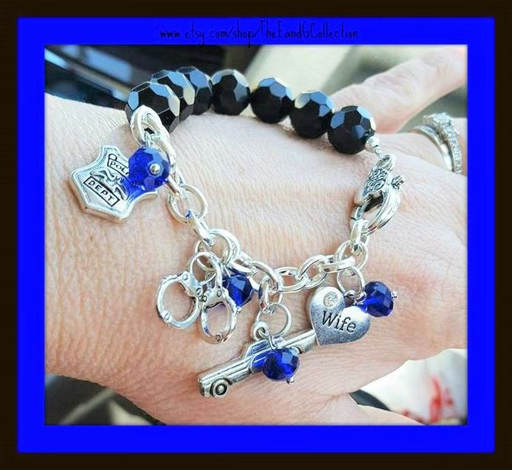 Thin Blue Line bracelet, Police Wife jewelry, charm bracelet, Deputy Sheriff, State Trooper, Back the Blue, I've got his six, Officers Wife by TheEandGCollection on Etsy