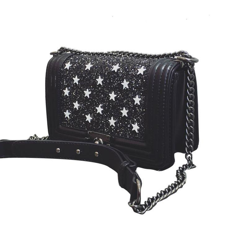 2017 fashionable star Rivet women Bags PU leather black cool Messenger Bag  Patchwork lady handbags cell phone pocket