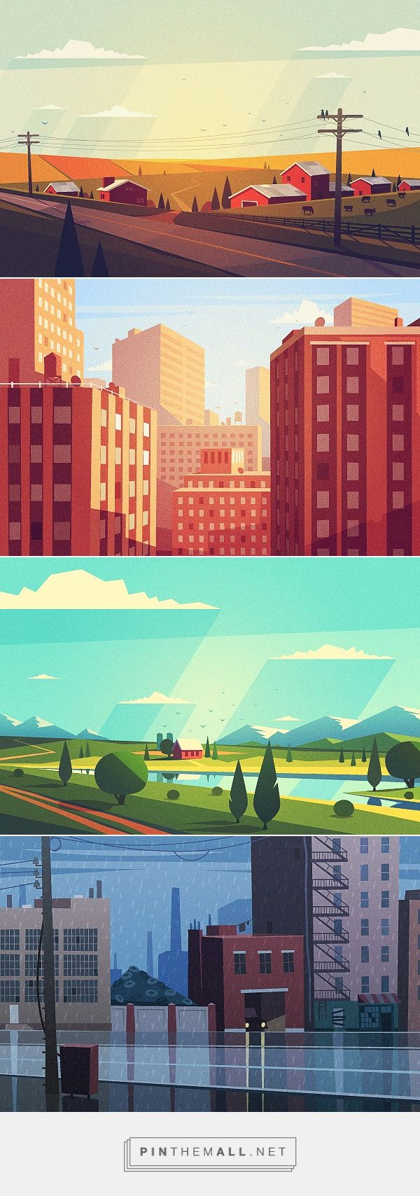 Vector Landscapes on Behance... - a grouped images picture - Pin Them All