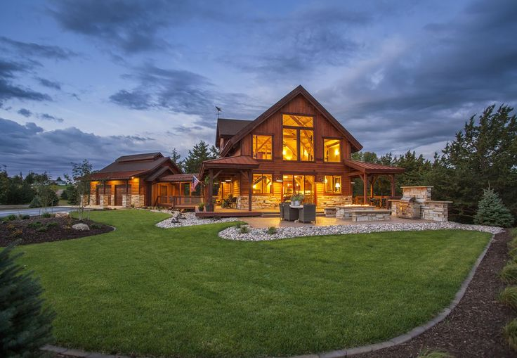 A dream barn home cabin | Outdoor Entertaining and plenty of living space | Sand Creek Post & Beam Barn & Barn Home Kits  https://www.facebook.com/SandCreekPostandBeam