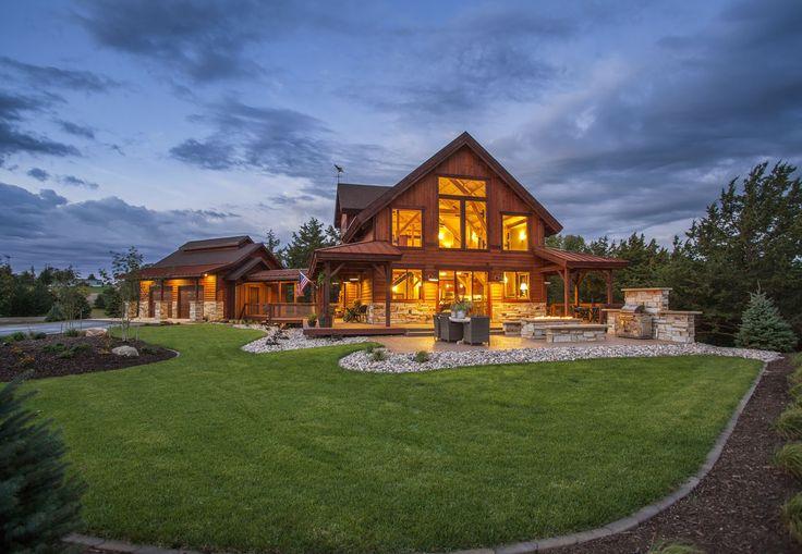 A dream barn home cabin | Outdoor Entertaining and plenty of living space | Sand Creek Post & Beam Barn & Barn Home Kits  https://www.facebook.com/SandCreekPostandBeam