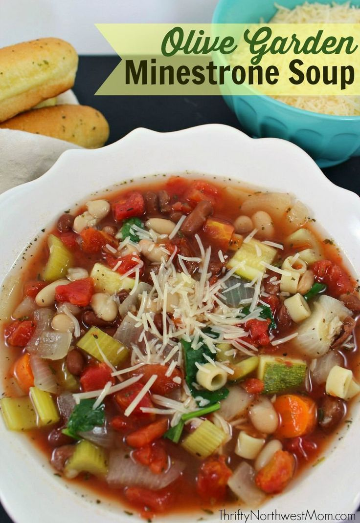 Recipe Round-up: Issue 50 - Olive Garden Minestrone Soup (image and recipe credit thriftynorthwestmom.com)  - #ReImagineDieting Sign up for more weight loss recipes like this at fullplateliving.org