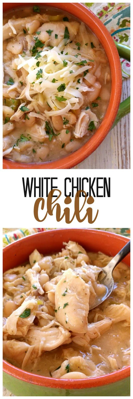 White Chicken Chili! Slow-cooked creamy great northern beans, tender chicken and tons of southwest flavor!