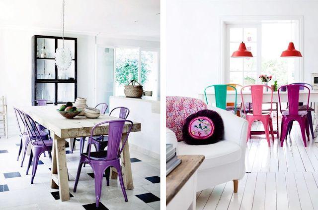 chaise de table A métal couleur rose violet vert acier Tolix déco ...