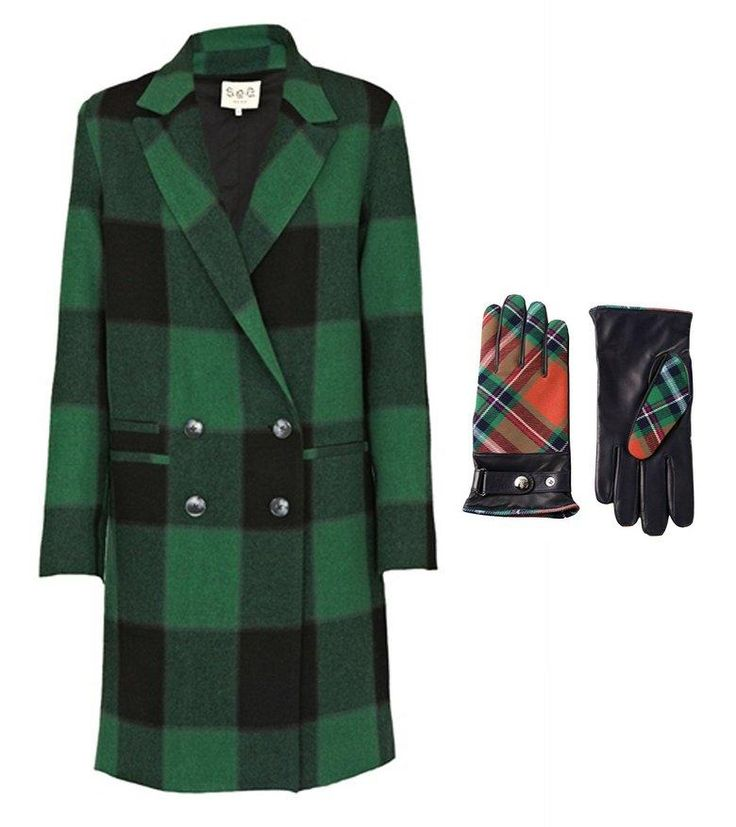 Sea NY plaid overcoat green + Vivienne Westwood exhibition plaid tartan gloves