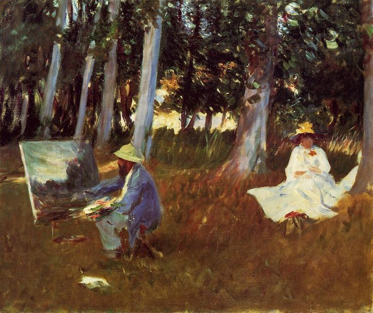Claude Monet Painting by the Edge of a Wood, John Singer Sargent, 1885.