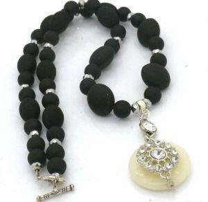 Black Necklace with Agate Rhinestone Pendant - 54cm   $45.00