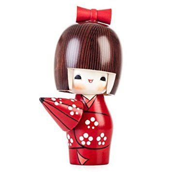 Sunny Weather Happy Girl Wooden Kokeshi Doll