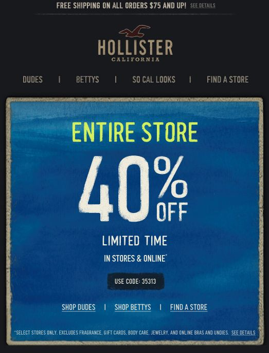 HOLLISTER PROMO CODES NOVEMBER 2019