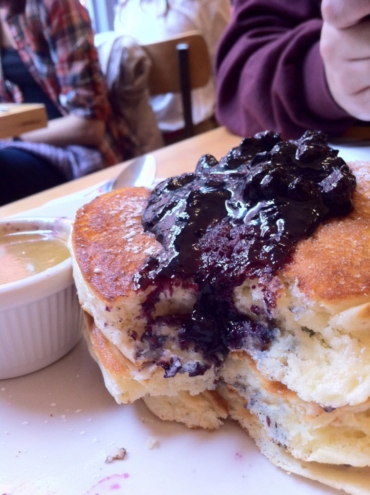 Blueberry pancakes from Clinton St. Baking Company