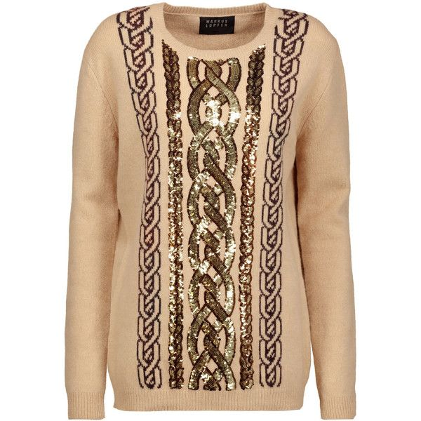 Markus Lupfer - Natalie Sequined Intarsia-knit Wool Sweater (£200) ❤ liked on Polyvore featuring tops, sweaters, beige, beige top, wool knit sweater, markus lupfer, beige sweater and markus lupfer sweater
