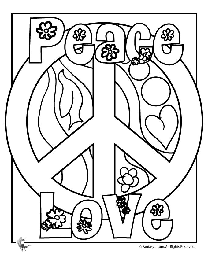 Peace Sign Coloring Pages Flower Power Coloring Page – Fantasy Jr.