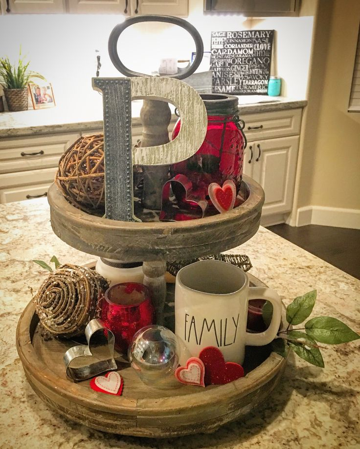 Two-tiered tray for Valentines Day