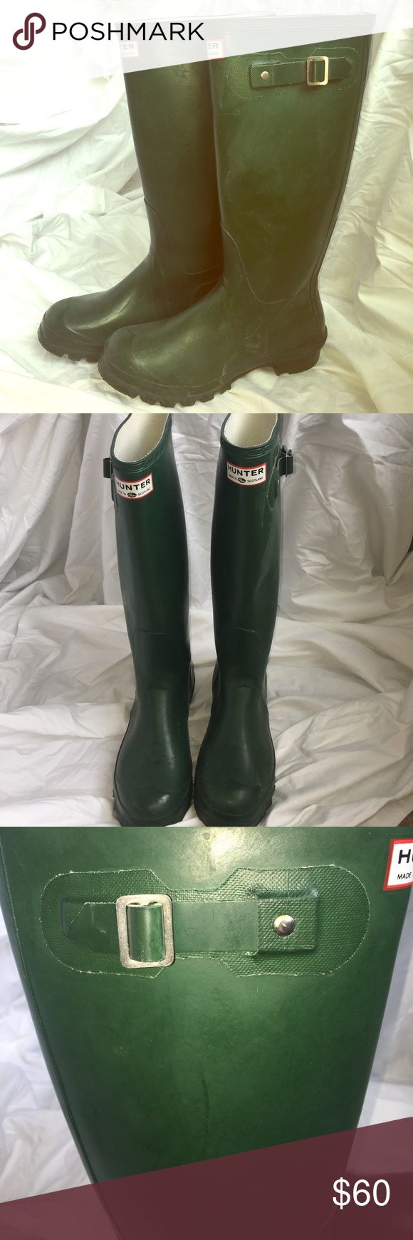 Hunter Tall Rain Boots Matte Green tall Hunter rain boots. They have visible signs of wear, but are still in great condition and can make any outfit stylish on a rainy day!! Hunter Boots Shoes Winter & Rain Boots