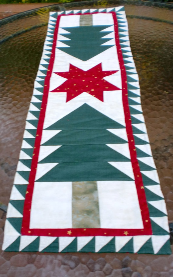 Guiding Star Table Runner  Christmas 11 1/4 x by StacksOfStash, $20.00