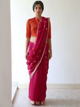 Deep Pink Nanki Chanderi & Zari Saree