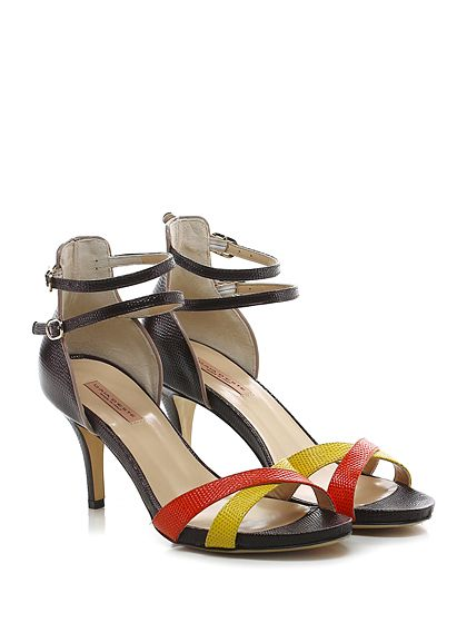 Gaia D'Este - Sandalo alto - Donna - Sandalo alto in pelle lavorata con doppio cinturino e suola in cuoio. Tacco 75, platform 15 con battuta 60. - T.MORO\ARANCIO\GIALLO - € 215.00