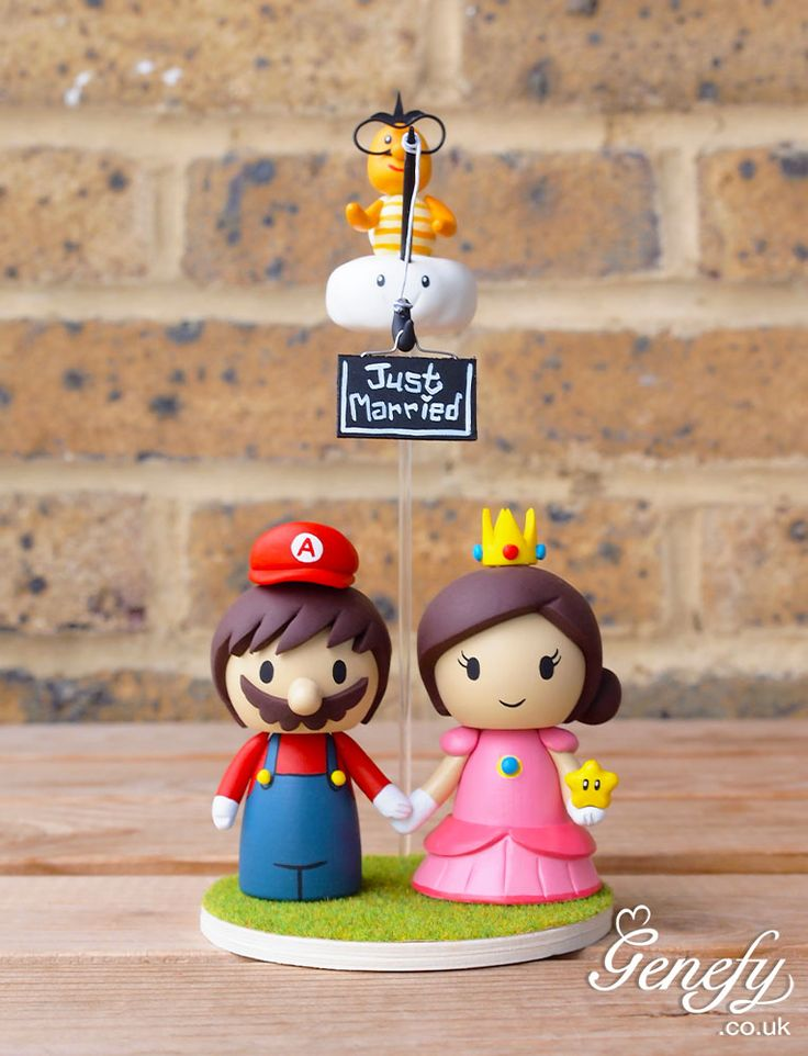 Mario And Princess Peach Holding Super Star With Lakitu Cloud Guy Wedding Cake Topper By Genefy