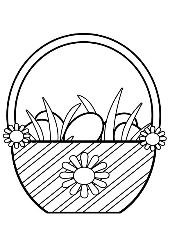 Easter Basket Coloring Clip Art
