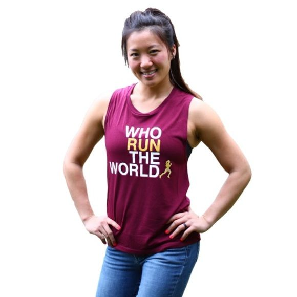 """Barbell Babes Who Run the World Maroon Tank L Barbell Babes 'Who Run The World' Muscle Tank. """"RUN"""" and logo in gold glitter. True to size or size up for deeper armholes. Price firm, but applies to bundle discount.  No trades. No holds.  Fast shipping! Barbell Babes Tops Muscle Tees"""
