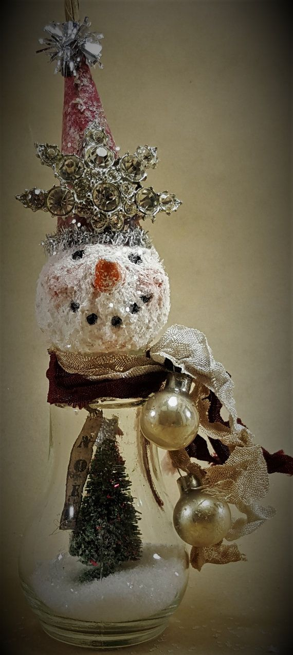 SNOWMAN Assemblage Ornament Mixed Media Original Christmas