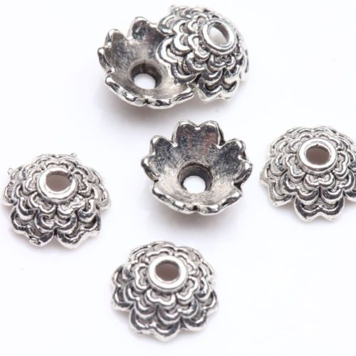 100Pcs-Tibet-Silver-Plated-Flower-Spacer-Bead-Caps-Jewelry-Findings-DIY-8x3mm