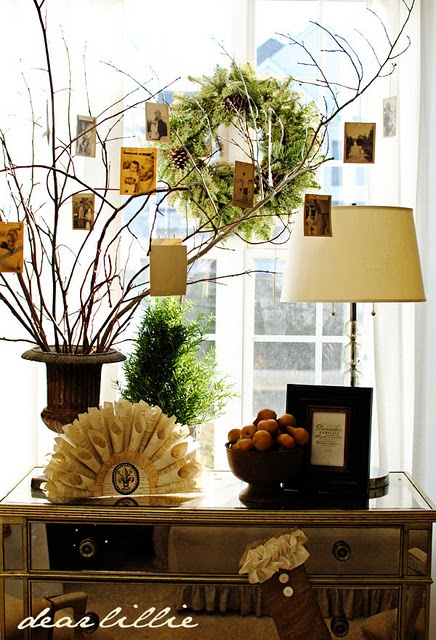 Tree branch display for Christmas cards.